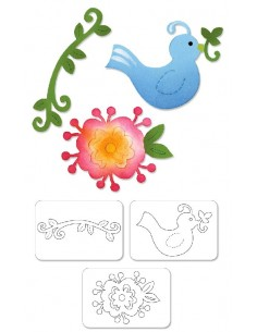 Sizzlits Die Set 3PK - Bird & Flower Vine Set by Dena Designs