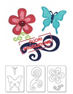 Sizzlits Die Set 3PK - Butterfly, Flower & Swirl Set by Karen Burniston