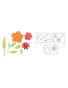 Sizzlits Die Set 3PK - Flowers & Leaves Set by Dena Designs