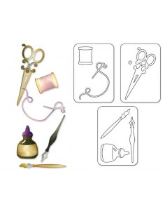 Sizzlits Die Set 3PK - Sewing & Writing Set by Debi Adams