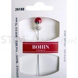 Spillo decorativo con testa a perla 70mm Bijou Rosso