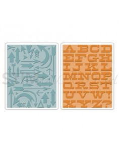 Texture Fades Embossing Folders 2PK - Arrows & Boardwalk Set by Tim Holtz