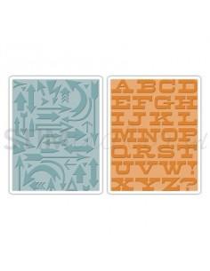 Texture Fades Embossing Folders 2PK - Arrows & Boardwalk Set by Tim Holtz