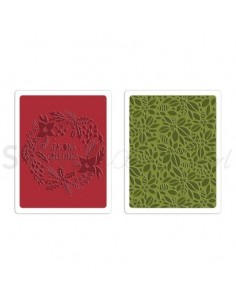 Texture Fades Embossing Folders 2PK - Greetings & Greens Set by Tim Holtz