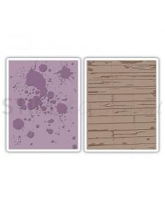 Texture Fades Embossing Folders 2PK - Ink Splats & Wood Planks Set by Tim Holtz