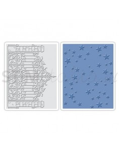 Texture Fades Embossing Folders 2PK - Iron Gate & Starry Night Set by Tim Holtz