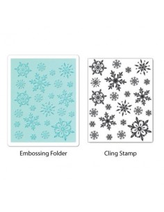 Textured Impressions Embossing Folder w/Stamp - Snowflake Background Set by Hero