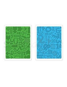 Textured Impressions Embossing Folders 2PK - Arrows & Numbers Set by Lori Whitlo