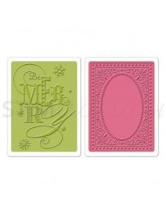 Textured Impressions Embossing Folders 2PK - Be Merry Set by Brenda Walton