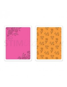 Textured Impressions Embossing Folders 2PK - Border Blooms & Garden Roses Set by