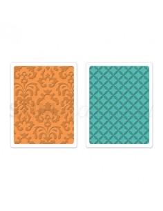 Textured Impressions Embossing Folders 2PK - Chateau Damask & Veranda Set by Brenda W.