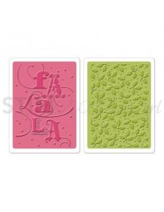 Textured Impressions Embossing Folders 2PK - Fa La La Set by Brenda Walton