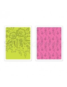 Textured Impressions Embossing Folders 2PK - Floral Tapestry & Sweet Blooms Set
