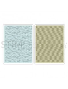 Textured Impressions Embossing Folders 2PK - Hexagons & Chevrons Set by E
