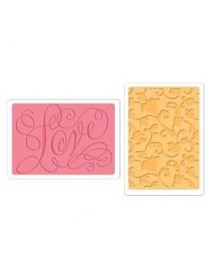 Textured Impressions Embossing Folders 2PK - Love & Swirling Vines Set by Brenda Walton