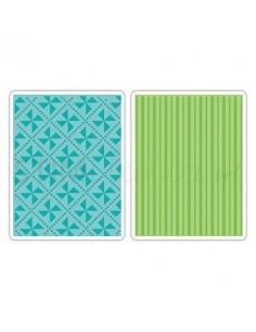 Textured Impressions Embossing Folders 2PK - Pinwheels & Stripes Set by Eileen H