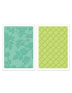 Textured Impressions Embossing Folders 2PK - Rose Vines & Trellis Set by Brenda Walton