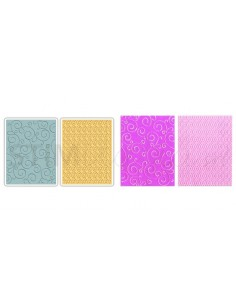 Textured Impressions Embossing Folders 2PK - Swirls & Squares in Ovals Set by SB