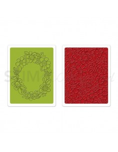 Textured Impressions Embossing Folders 2PK - Wreath & Flowers Set by Stephanie A