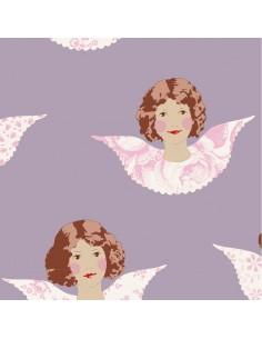 Tilda 110 Old Rose Angel Scraps, Tessuto Angeli su Lilla Malva