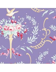 Tilda 110 Old Rose Birdsong, Tessuto Fiori e Uccelli su Blu