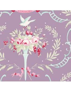 Tilda 110 Old Rose Birdsong, Tessuto Fiori e Uccelli su Lilla Malva