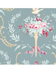 Tilda 110 Old Rose Birdsong, Tessuto Fiori e Uccelli su Verde Ottanio
