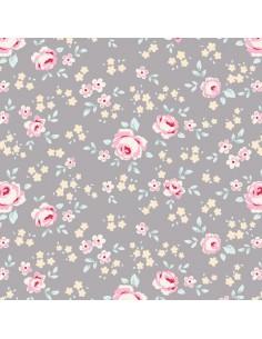 Tilda 110 Old Rose Eliza, Tessuto piccoli Fiori su Grigio