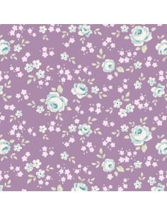 Tilda 110 Old Rose Eliza, Tessuto piccoli Fiori su Lilla Malva