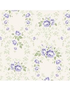 Tilda 110 Old Rose Lucy, Tessuto Rose Blu su Beige