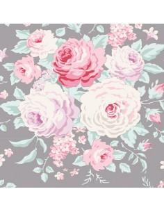 Tilda 110 Old Rose Lydia, Tessuto con bouquet di grandi Rose su Grigio