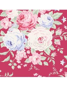 Tilda 110 Old Rose Lydia, Tessuto con bouquet di grandi Rose su Lampone