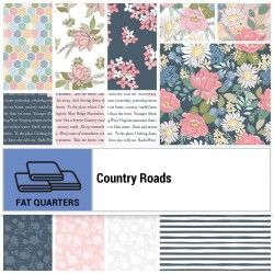 COUNTRY ROADS, Fat Quarter - 21 Tagli Di Tessuto Da 18 X 22 Pollici