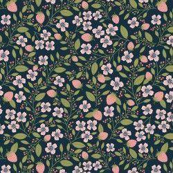 DAISY MAE, Berry Blossoms - Tessuto Fragole Su Fondo Blu Navy