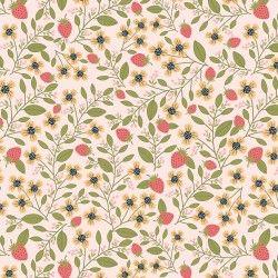 DAISY MAE, Berry Blossoms - Tessuto Fragole Su Fondo Rosa
