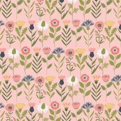 DAISY MAE, Fresh Cuts - Tessuto Fiori Con Stelo Su Fondo Rosa