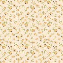 DAISY MAE, Mini Mae - Tessuto Piccole Peonie Gialle Su Fondo Giallo