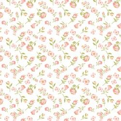 DAISY MAE, Mini Mae - Tessuto Piccole Peonie Rosa Su Fondo Bianco