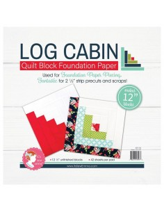 Log Cabin da 12 pollici - Blocco Quilt per Foundation Paper Piecing