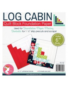 Log Cabin da 6 pollici - Blocco Quilt per Foundation Paper Piecing