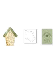 Bigz Die w/Bonus Textured Impressions - Birdhouse 2 by Jen Long-Philipsen