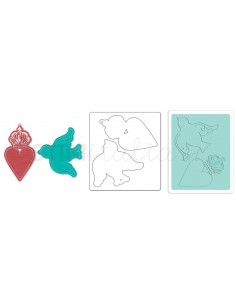 Bigz Die w/Bonus Textured Impressions - Heart Crown & Bird Tags by Jen Long_WWC