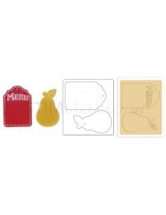 Bigz Die w/Bonus Textured Impressions - Pear & Menu Tags by Jen Long_WWC