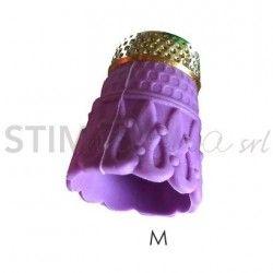 """Ditale antiscivolo in Silicone con punta in metallo """"M"""" - 5 pz"""