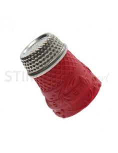 """Ditale con top in Acciaio in Silicone """"L"""" - Rosso"""