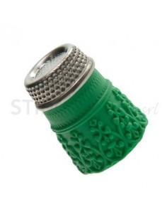 """Ditale con top in Acciaio in Silicone """"XL"""" - Verde"""