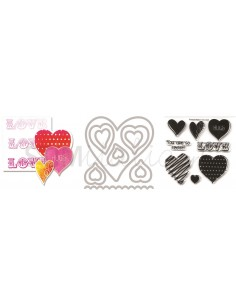 Framelits Die Set 12PK w/Stamps - Love, Hugs & Hearts by Stephanie Barnard