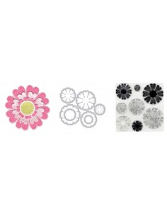 Framelits Die Set 7PK w/Stamps - Flowers, Lovely by Paula Pascual