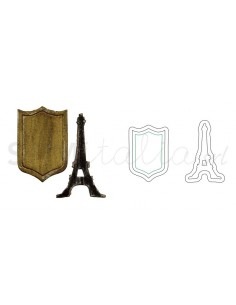 Movers & Shapers Magnetic Die Set 2PK - Mini Eiffel Tower & Shield by Tim