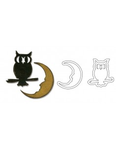 Movers & Shapers Magnetic Die Set 2PK - Mini Owl & Crescent Moon by Tim Holtz